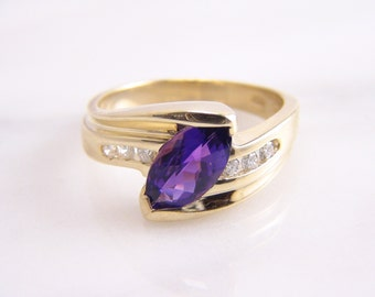 Vintage Marquise Amethyst & Diamond Ring 14k Yellow Gold Size 6.75