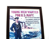 Vintage Nautical Decor 1917 US Navy WW I Recruiting Poster Retro Sailing Advertising Framed Naval Ships 1974 US Govt Commemorative