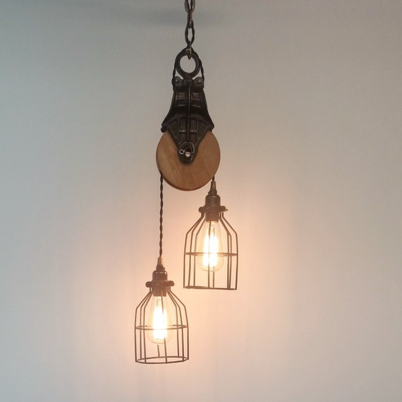 Items Similar To Rustic Light Pendant Lighting Pulley On Etsy: Antique Barn Pulley Pendant Industrial Modern By UrbanAnalog
