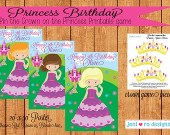 Pin the Crown on the Princess Printable Birthday Game - Personalized