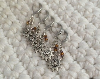 Removable Stitch Markers Gears - 5 Steampunk Stitch Markers for Crochet and Knitting