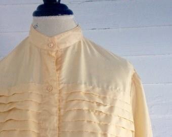 Vintage BEIGE 80s Blouse w Silk-Like Texture