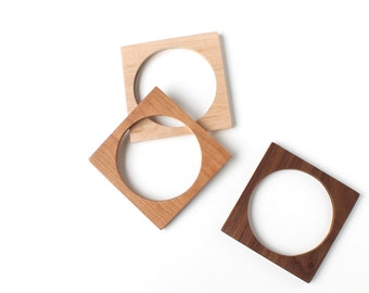 Square Bangle Bracelets - Laser Cut Wooden Minimalist Simple Jewelry Accessories