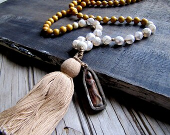 Mala Necklace Mala Beads Tassel Necklace Yoga Necklace Buddha Necklace Mala Prayer Beads Wood Grounding Mala Healing Beads 108 Bead Mala