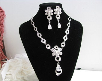 Cubic Zircon Statement Wedding Necklace in  silver tone and White Satin Ribbon Great Bridal Wedding Pageant Jewelry