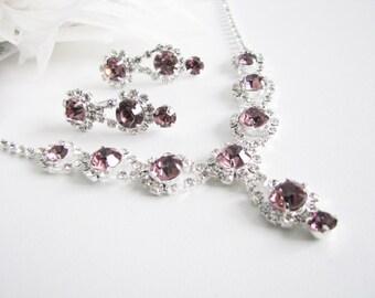 Purple 2 piece set Wedding Necklace Bridal Necklace - Bridal Jewelry - Wedding Necklace - bridal set- Backdrop Bridal Necklace