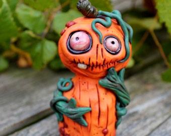 Pumpkin Halloween Polymer Clay Sculpture