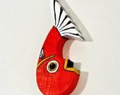 Reclaimed Wood Fish Decor Painted Red Handmade in Mississippi OOAK Folk Art