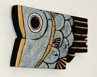 Wood Fish Art Painted Silver and Gold on Reclaimed Barnwood OOAK Mississippi Home Decor