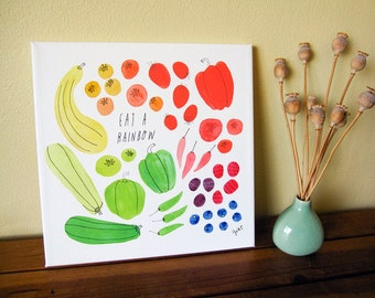 Watercolor Canvas Art Print, Watercolor Art Print, Hand Lettering, Rainbow, Tomato, Berry, Pepper, Zucchini, 12x12, Gift for Foodie