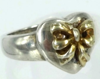 Size 7 Ring Gold Vermeil Bow Over Sterling 925 Silver Heart Designer Signed A (9905)