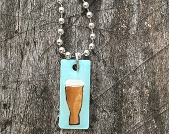 Hand Painted Beer Charm on Stainless Steel Bracelet
