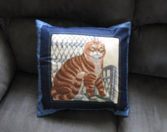 Calico Cat pillow Cover 16 x 16 Travel Country Home decor