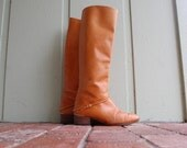 Vintage Womens 39 ~ 8.5 Frank More Leather Pull On Tall Riding Boots Spring Fashion Boho Hippie Gypsy Boot Moto Biker Rider Festival Kid