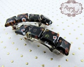 Millefiore French Barrettes, Ninfea, 1 pair, black glass hair clips, Winter, floral barrettes, hair accessories for girls - reynared
