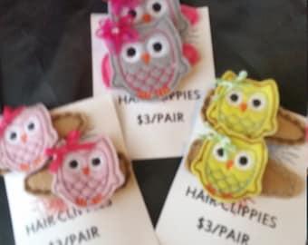 Owl feltie hair clippie / barettes - 1 pair