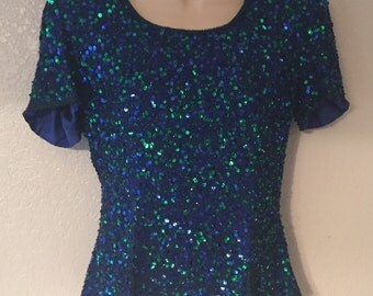 Gorgeous Peacock Colored Vintage Sequins Scala Blouse