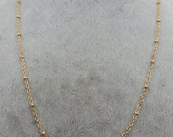 Wholesale finished chains-50 pcs gold  beaded chains-with clasps -T0897