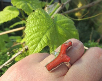 Beautiful Red Coral Ring Size 9 US, 925 Silver