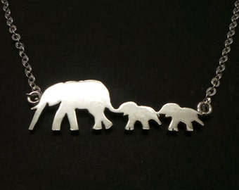 Silver Mother Daughter Elephant Necklace - Elephant Jewelry - Mother and Child Necklace - Gift for Mother Day - Gift for Mom Mama Mummy