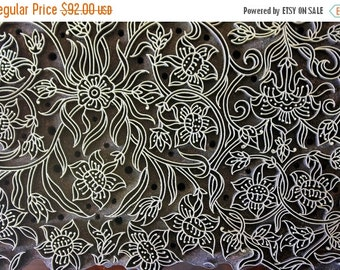 THANKSGIVING SALE Pottery Stamps, Antique Stamp, Indian Wood Stamp, Textile Stamp, Wood Blocks, Tjaps, Printing Brass Stamp- Seamless Floral