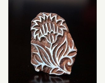 THANKSGIVING SALE Hand Carved Indian Wood Textile Stamp Block- Carnations Flowers