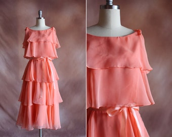 vintage 1970's peach pink chiffon tiered midi party dress with bows / size xs - s