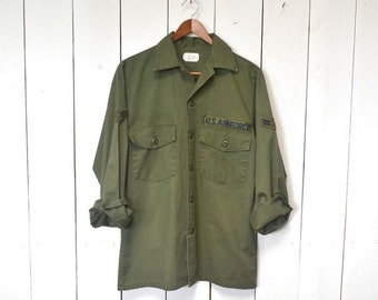 US Air Force Shirt Vintage Long Sleeve Army Green Cotton Button Up Medium Large