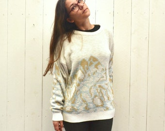 Slouchy Knit Sweater 1970s Vintage White Gold Blue Abstract Print Pullover Large