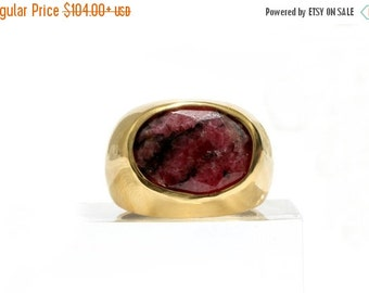 25% OFF SALE - Thick Rhodonite ring,gold ring,thick statement ring,gemstone ring,bridal ring,energy ring,gold filled ring