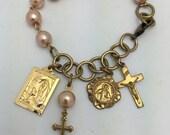 Religious Charm Bracelet Religious Bracelet Pearl Bracelet