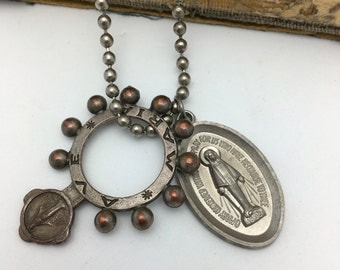 Finger Rosary Necklace Religious Necklace Vintage Necklace catholic necklace blessed Mary religious medal