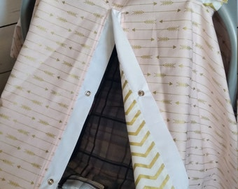 Carseat Canopy Pink Gold Arrow Chevron REVERSIBLE