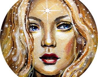 "12 x 12, Fine Art Print, ""Soleil"", painting by Kamille Freske, star goddess, celestial, pagan art, fantasy art, fairy art, faerie art, sun"
