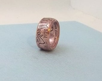 Made from 1/2 oz copper coin ring 1929 Copper-Indian Chief 99.9%  copper ring size 9 1/2