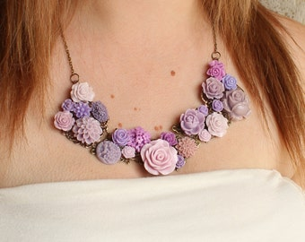 Vintage Inspired Flower Bib Necklace - Floral Statement Jewelry - Nature Bib Necklace - Bridesmaid Bib Necklace - Wedding Bib Necklace