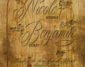 RUSH Wood Grain Wedding Invitations, Engraved Wood Look, Wood Plank Typography, Wood Panel Wedding Invitation, Custom Listing for NikkiBoo29