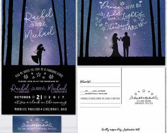 Galaxy Wedding Invitations, Under the Stars Invite Set, Outdoor Starlight Wedding Invitation, Budget Wedding, Bride and Groom Silhouette