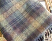 Vintage Pendleton Wool Blanket - Wool Tartan Plaid Throw - Olive Green, Camel, Brown, Black Plaid