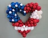 "USA PATRIOTIC FLAG Heart Ornament Wreath 19"" Patriotic Wreath"