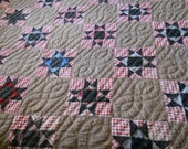 Gorgeous Vintage Handmade Country SAWTOOTH STAR Quilt--Hand Quilted-Brown/Black and White/Red and White Checked