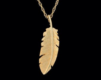 14k Yellow Gold Feather Pendant or Necklace (Optional Chain)