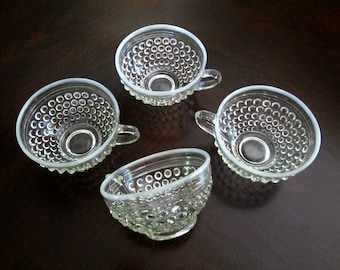 1940s Moonstone Hobnail Tea Cups Vintage Anchor Hocking Glass