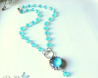Blue Butterfly and Seaglass Necklace, Nature Jewelry