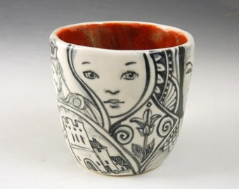 Black and white story OOAK tea bowl with king, baby, jester and much more