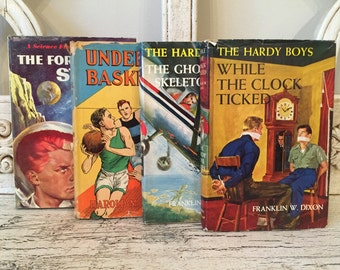 Colorful Children's Book Stack - Vintage Books for Boys - Hardy Boys