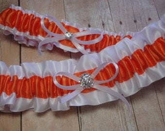 White and Orange Satin Garter Set
