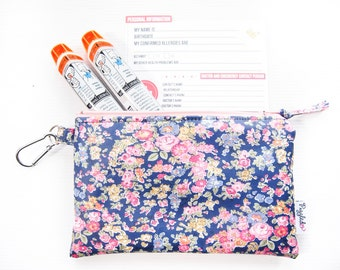 EpiPen Case with a Medical ID Card and a Carabiner - Liberty of London Oilcloth (Tatum - Navy Blue)
