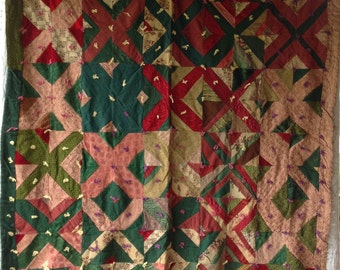 Amazing ANTIQUE VINTAGE X BLOCK Quilt Gorgeous Fabrics