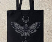 Moth, Moon, Rock - Black Cotton Canvas Tote Bag